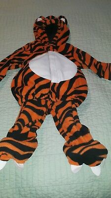 Old Navy Infant 0-6 MONTHS Plush Hooded Orange Tiger Halloween Costume Warm