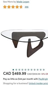 Brand new real wood and glass coffee table