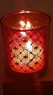 YANKEE CANDLE HALLOWEEN CASBAH RED/ORANGE AND BLACK VOTIVE CANDLE HOLDER NWT