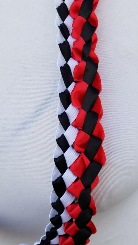 Graduation Lei Red, Black & White Double Ribbon Lei Harlequin Design Ready2Ship