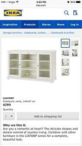 RRP$399 - IKEA Liatorp sideboard buffet white with glass doors Lilyfield Leichhardt Area Preview