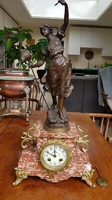 Victorian Pink marble figural clock - spelter figure ? Japy Freres movement