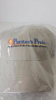 Puritan's Pride Adjustable Baseball Hat Tan Beige Vitamin Advertisement Employee](Puritan Hats)
