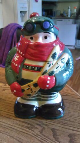 Awesome DesignPac Skier Cookie Jar Ceramic Christmas