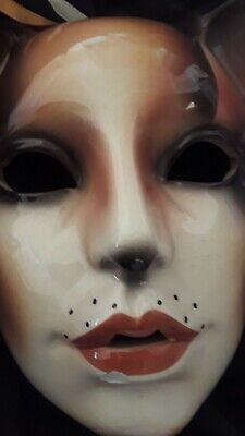 Lot of 2 Theater/Mardi Gras/Ceramic/Clay Face Masks Hanging Wall Art