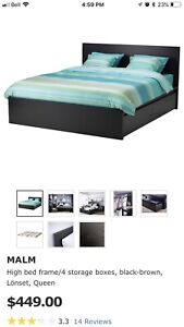 IKEA queen size bed with storage