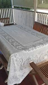 Cream lace tablecloth for 6 seater dining table Albion Brisbane North East Preview