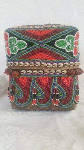 Vintage Balinese Beaded Lidded Basket Box w/Shells and Seeds - Indonesia