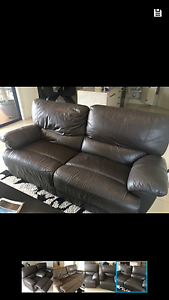 3 seater brown leather lounge with 2 armchairs Seaford Meadows Morphett Vale Area Preview