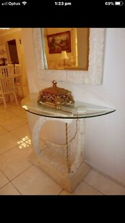stone hall table. FOSSIL STONE ENTRANCE TABLE WITH MIRROR GREAT CONDITION Stone Hall Table R
