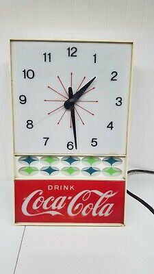 Vintage Drink Coca Cola Wall Clock Electric Lighted Atomic restoration/parts