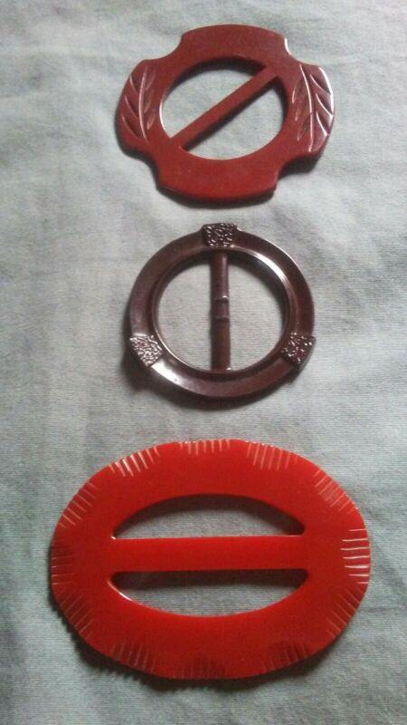 3 Vintage Bakelite Buckle Scarf Slides.