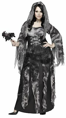 Women's Cemetery Bride Costume Fancy Dress Halloween Grey Dead Zombie Plus Size - Plus Size Womens Zombie Costume