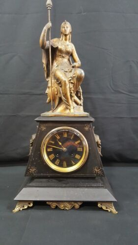 ANTIQUE FRENCH VICTORIAN MARBLE  BRONZED  MANTLE CLOCK . EGYPTIAN STYLE