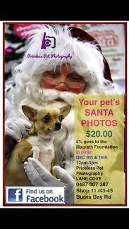 Pet Santa Photos $20. Saturday December 9 & 16