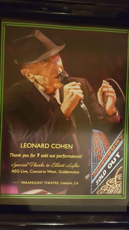 Leonard Cohen Rare Original Oakland Paramount Theatre Concert Poster!