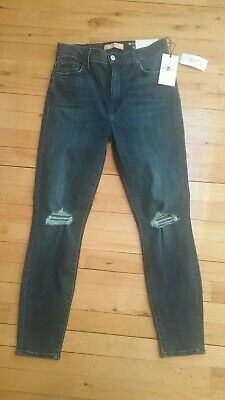 7 For All Mankind high waist Ankle Skinny b(air) jeans Women sz 27 blue stretch