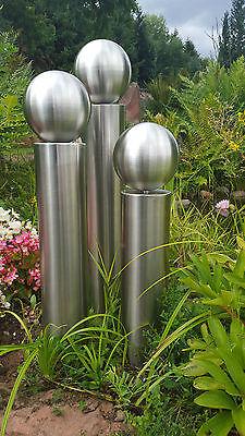 EDELSTAHL Säulen Set V2A Säule 40/50/60cm mit 150mm Edelstahlkugel Garten Deko