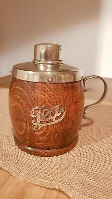Victorian 1800's Oak And Silverplate EPNS Tea Caddy/ mug with handle Ceramic