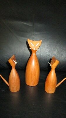 Set of 3 Unique Hand Carved Wood Mid Century Modern Cats Wooden Teak Rare Kitten