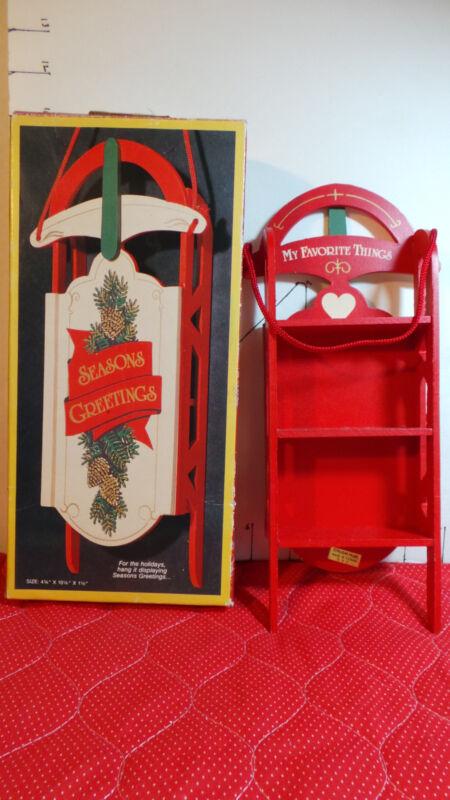 Christmas Sled & Knickknack Shelf, Holiday Glider,by Nobel Hall