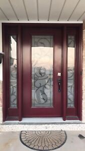 Wrought iron frosted glass front door for sale $850