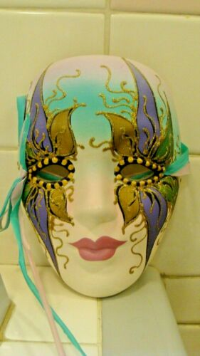 Beautiful Ceramic New Orleans Face Mask Wall Decoration, Signed