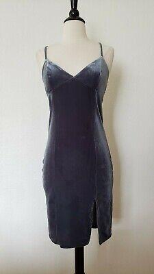 Anthropologie Dress New Size Small Velvet Cami Mini Slit Bodycon Grey Blue Slate