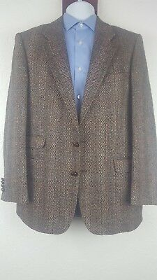 Stafford 41 40 R Brown Blazer Jacket England Tweed Wool 2 Domed Button Front