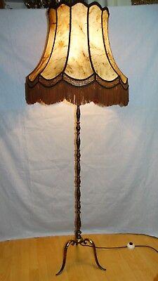 Stehlampe Boden Lampe Stehlampen Lampen Leuchten Messing Echtleder Schirm
