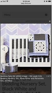 Premium full crib bedding set - periwinkle blue and never used