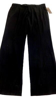 NWT PERRY ELLIS PORTFOLIO MEN'S BLACK FLAT FRONT DRESS PANTS SIZE 36 X 34