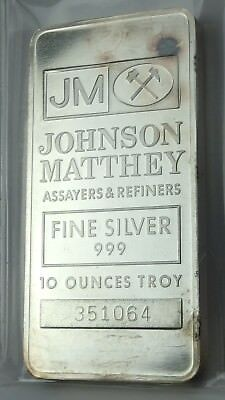1   Jm Johnson Matthey Vintage 10 Troy Silver Ounces Bar  999 Very Rare