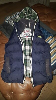 Superdry Tokyo Thick Padded Gilet / Body Warmer - Size Medium - Blue - FREE P&P