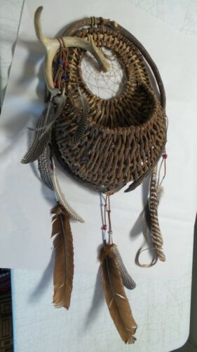 Antlers Dream Catcher Basket for Wall  Hanging Decor Ornament Feather Craft