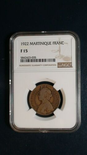 1922 MARTINIQUE FRANC NGC FINE 15 SILVER 1F Coin PRICED TO SELL RIGHT NOW!