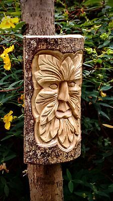 Green Man Wood Carving Fair Trade Handmade Bali Half Tree Trunk Mythical Spirit