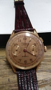 Chronographe Suisse Ancre 17 Rubis antimagnetic Mens 18kt vintage