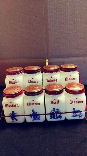 VTG. The Frank Tea & Spice Co. Milk Glass Dutch Spice Set Complete With Rack