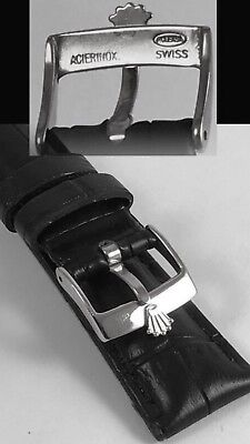 ROLEX TUDOR 19mm Black Leather band strap belt rubber bracelet buckle watch