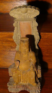 ANTIQUE-19C-CHINESE-WOOD-HAND-CARVED-TEMPLE-STATUE-OF-BUDDHA-WITH-BACK-STAND