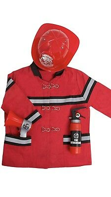 Kids Firefighter Role Play Costume Outfit Set 4 Pieces