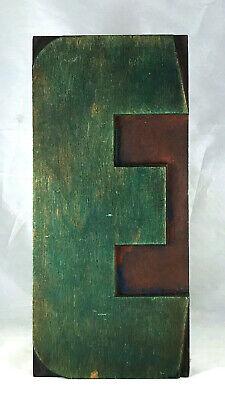 Vintage Wood Letterpress Print Type Printers Block Letter E 10 Patina