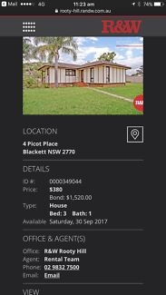 3 bedroom house for rent in Blackett nsw2177 $380 plus