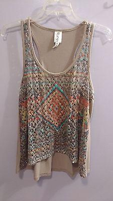 - Ransom Women Juniors Crochet Tank Top Shirt Size MD Vintage Appeal Aztec Brown