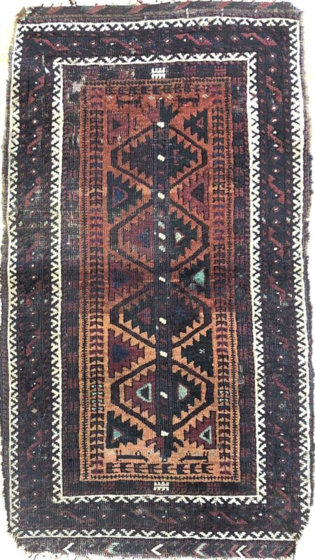 Beautiful Balouch - 1880s Antique Persian Rug - Tribal Carpet - 1.7 X 2.10 Ft.