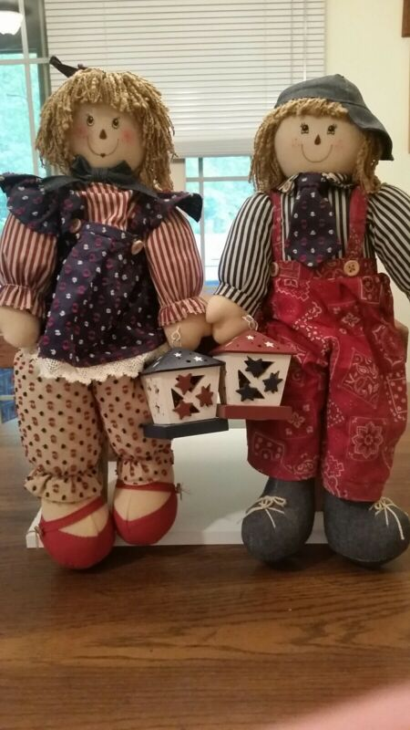 "AVON DOLLS GIFT COLLECTION GIRL & BOY ""HEARTWARMING COUNTRY SITTERS""  AMERICANA"