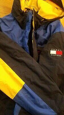 TOMMY HILFIGER YELLOW BLUE  MEN'S SZ- L FLAG FLEECED LINED VINTAGE HOODIE JACKET