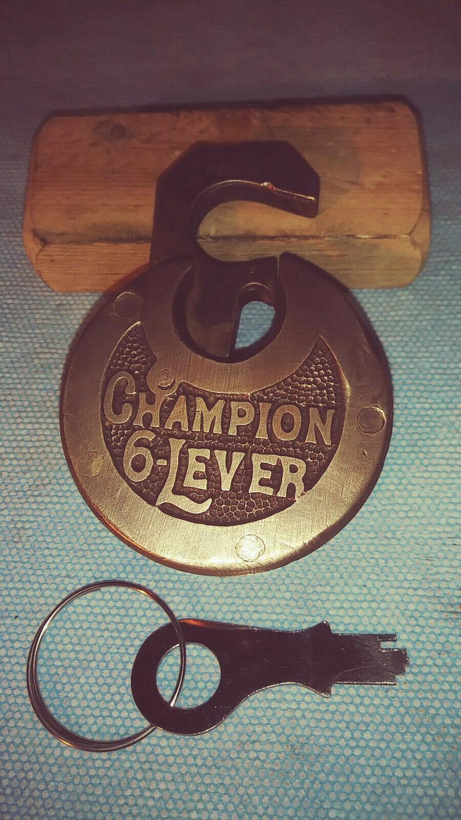 Antique/vintage Miller Champion Push Key Pancake Padlock W/key 84 - $41.95