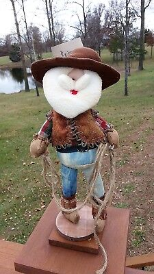 Western COWBOY Santa Claus LASSO Rope Plush on Wood Stand - Cowboy Santa Claus